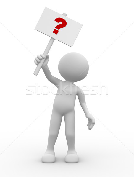 Stock photo: 3d men and question mark