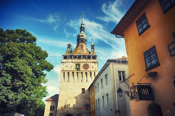 épületek középkori óra torony citadella textúra Stock fotó © orla