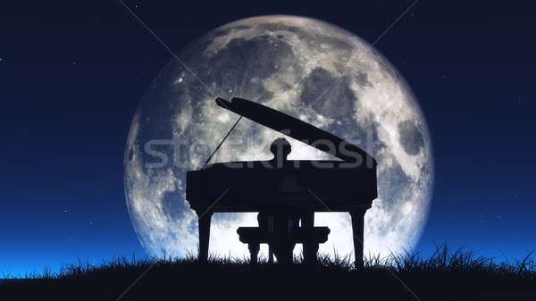 Silhouette of a  man playing the piano Stock photo © orla