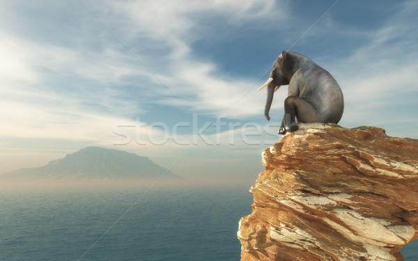 Elephant sitting on edge Stock photo © orla