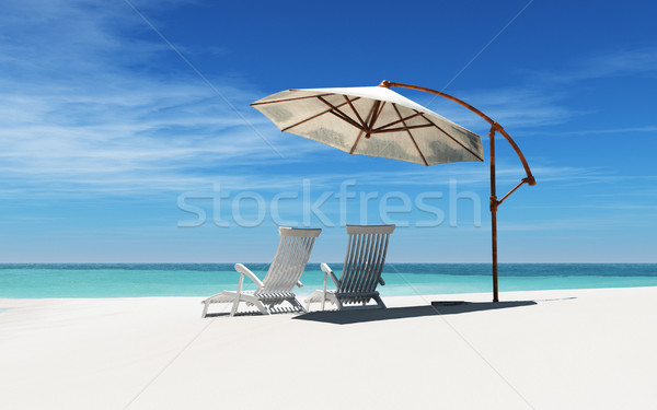 Stock photo: Two beach chairs