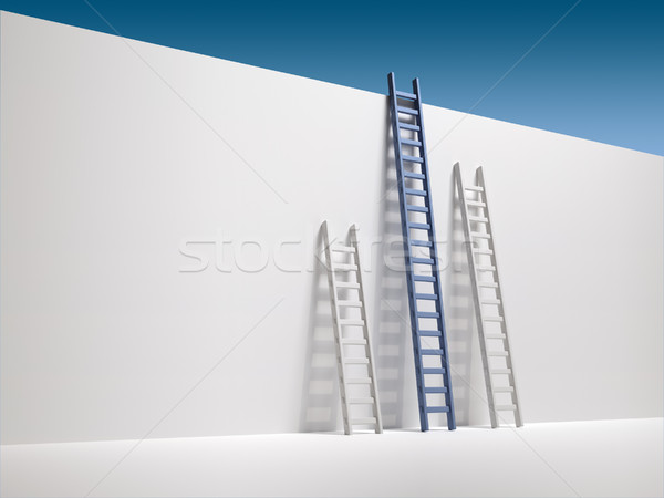 Three ladder leaning the wall Stock photo © orla