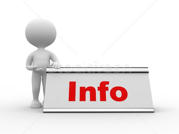 Informatie 3d mensen man persoon woord info Stockfoto © orla
