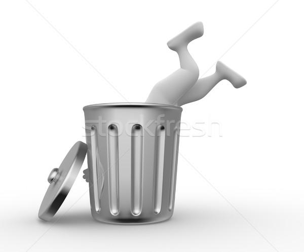 Armoede 3d mensen man persoon zoeken vuilnis Stockfoto © orla