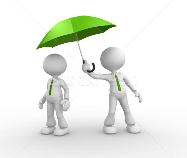 Vert parapluie gens 3d hommes personne homme Photo stock © orla