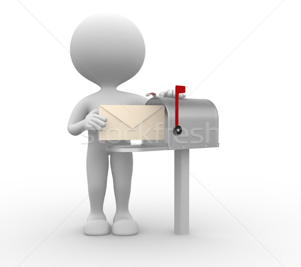 Mailbox 3d mensen man persoon envelop naast Stockfoto © orla