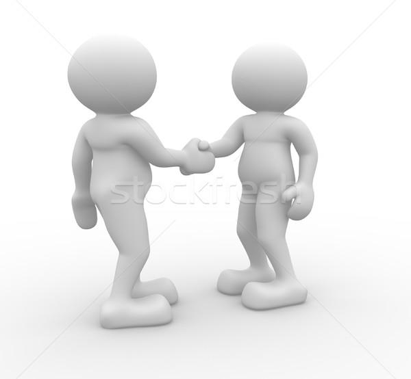 Сток-фото: рукопожатием · два · 3d · люди · 3d · визуализации · иллюстрация · дизайна