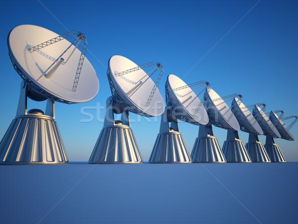 Radio teleskop 3d ilustracja naczyń wygaśnięcia Zdjęcia stock © orla