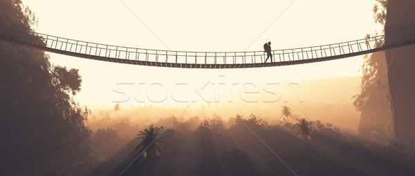 Man rope passing over a bridge  Stock photo © orla