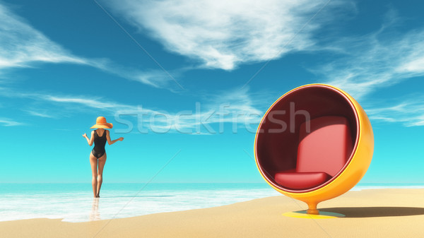 Genç kız şezlong plaj mayo sandalye Stok fotoğraf © orla