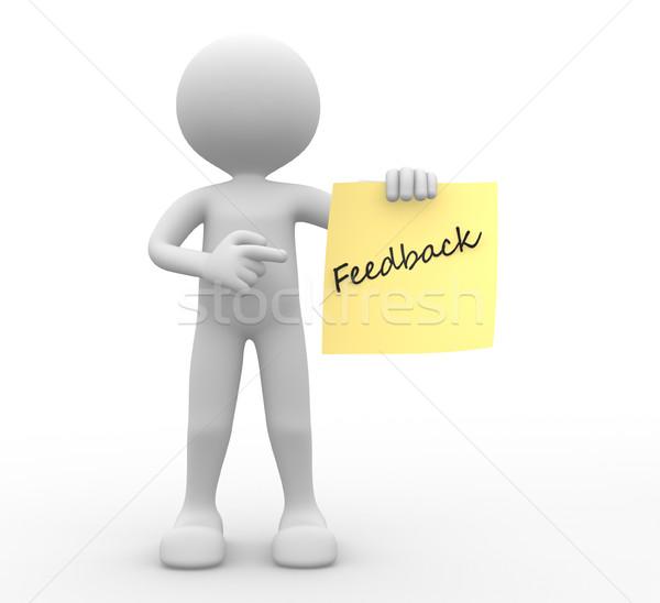 3d emberek férfi személy citromsárga papír visszajelzés Stock fotó © orla