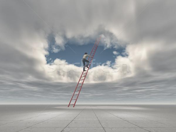 человека подняться лестнице дыра небе 3d визуализации Сток-фото © orla