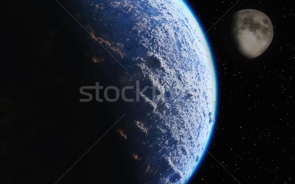 Ziemi księżyc widoku przestrzeni 3d ilustracji świecie Zdjęcia stock © orla