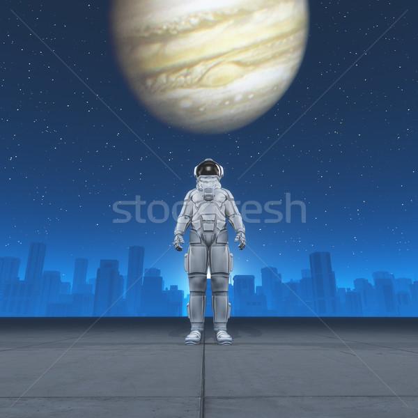 Homem traje astronauta cidade olhando lua Foto stock © orla