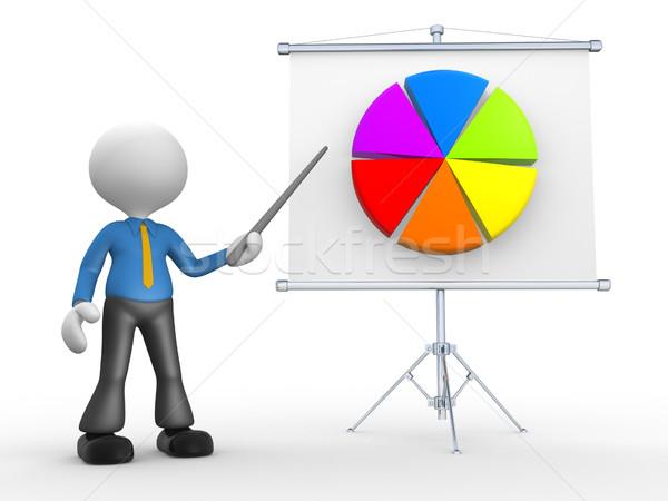 Stock fotó: üzletember · 3d · emberek · férfi · személy · ajándékok · kördiagram