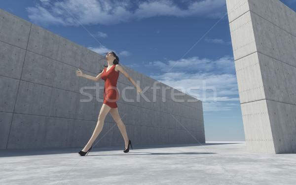 Outside fashion portrait of elegant girl  Stock photo © orla