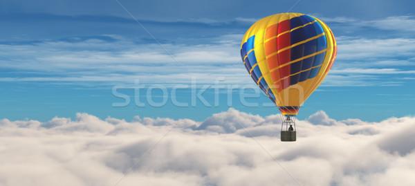 Hőlégballon kék ég 3d render illusztráció sport felhő Stock fotó © orla