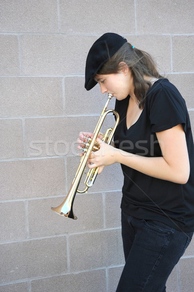 Female trumpet player. Stock photo © oscarcwilliams
