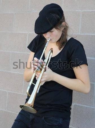 Female trumpet player. Stock photo © oscarcwilliams