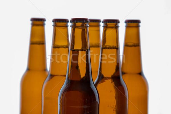 Stok fotoğraf: Bira · şişeler · altı · kahverengi · ayakta