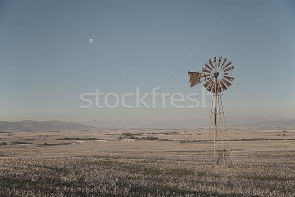 Windpump and moon Stock photo © ottoduplessis