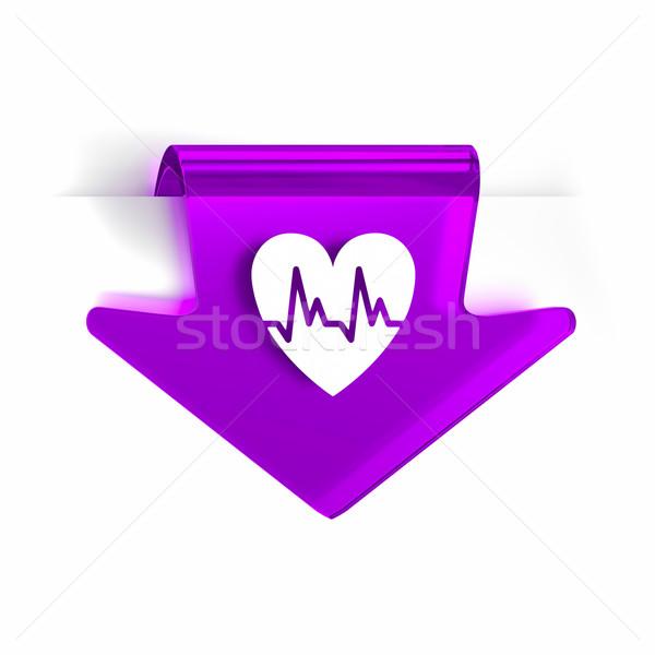 Cardiología vidrio flecha página marcador icono Foto stock © OutStyle