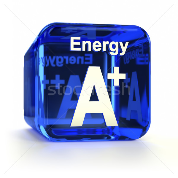 Energie-efficiëntie Blauw computer icoon technologie energie Stockfoto © OutStyle