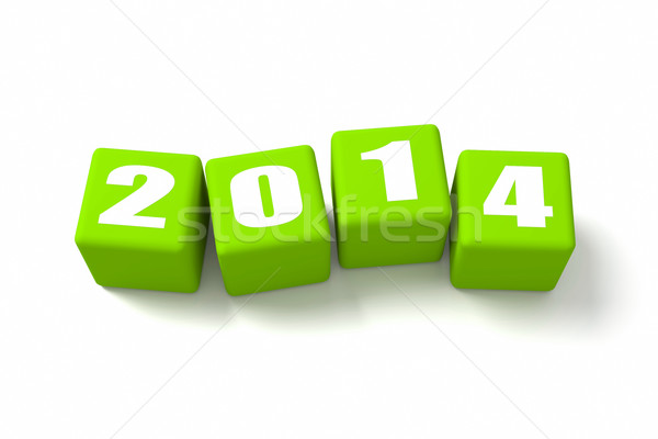 New Year 2014 Green Cubes Stock photo © OutStyle