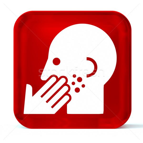 Dermatologie glas knop icon witte gezondheidszorg Stockfoto © OutStyle