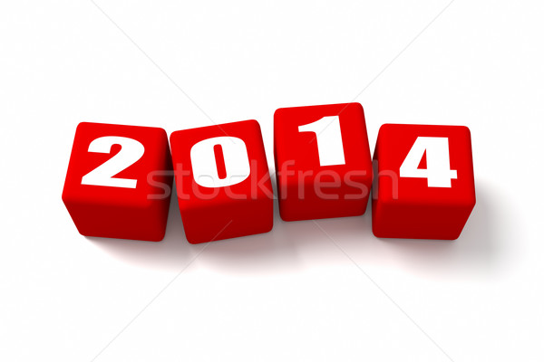 New Year 2014 Red Cubes Stock photo © OutStyle