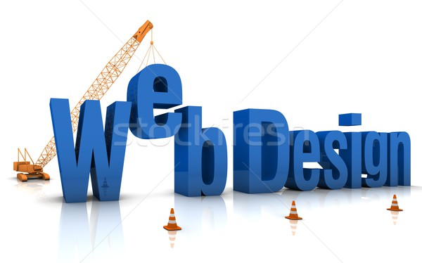 Web design grue bâtiment 3D mots Photo stock © OutStyle