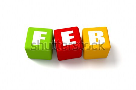 Stock photo: February Colored Cubes