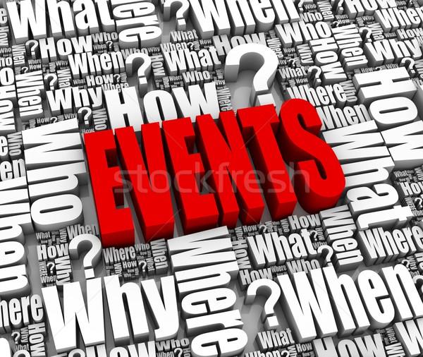 Veranstaltungen Gruppe Veranstaltung 3D Worte Zeitung Stock foto © OutStyle