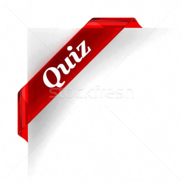 Quiz Rood banner glas top helpen Stockfoto © OutStyle