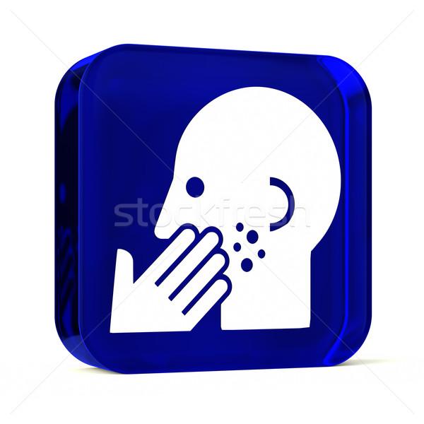 Bőrgyógyászat üveg gomb ikon fehér egészségügy Stock fotó © OutStyle