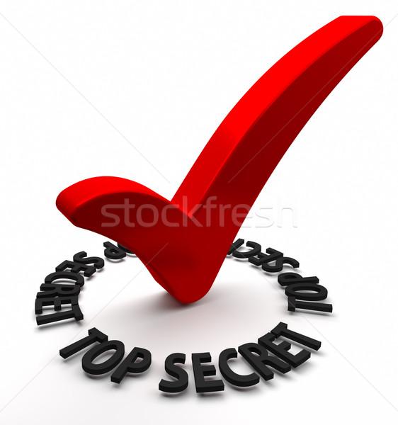 Top тайну красный проверить 3d текста Сток-фото © OutStyle
