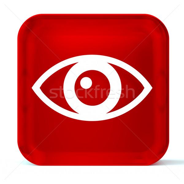 Oftalmología vidrio botón icono blanco Foto stock © OutStyle