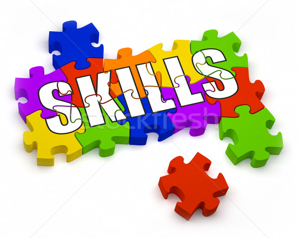 Em desenvolvimento habilidades 3D peças texto Foto stock © OutStyle