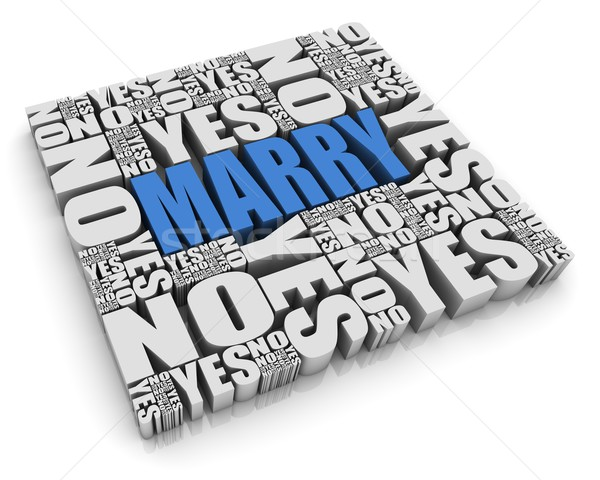 Matrimonio decisión texto en 3d sí no palabras Foto stock © OutStyle
