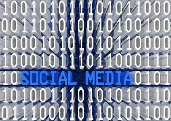 ソーシャルメディア バイナリコード 3dテキスト 観点 表示 コンピュータ ストックフォト © OutStyle