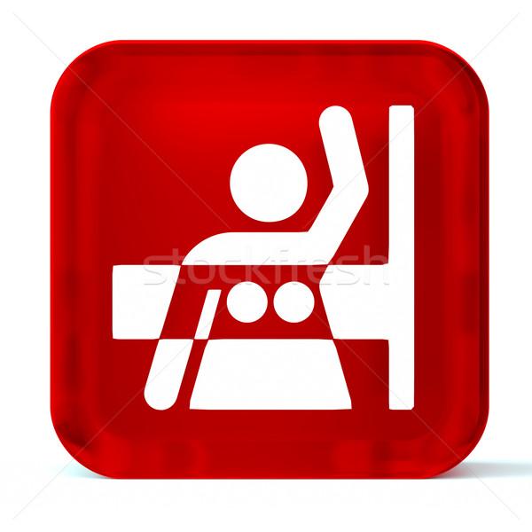 Vidrio botón icono blanco signo Foto stock © OutStyle