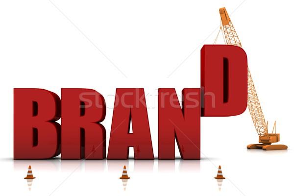 Gelişen marka vinç Bina kırmızı Stok fotoğraf © OutStyle