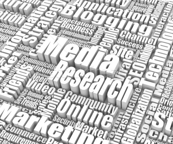 Los medios de comunicación investigación grupo palabras Internet éxito Foto stock © OutStyle