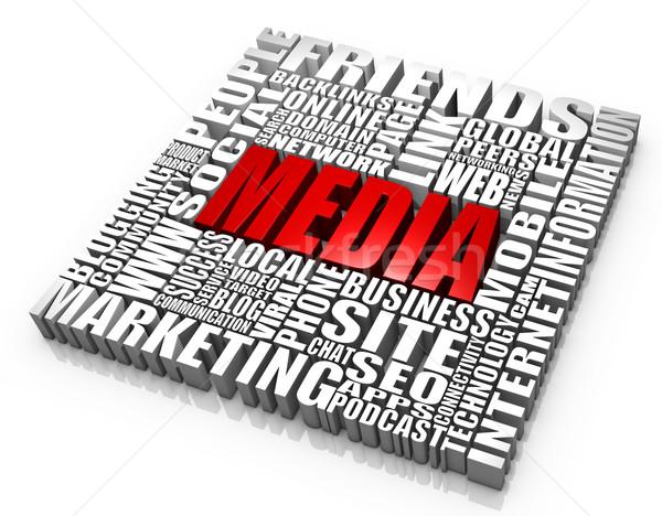 Medya grup sözler iş kavramlar telefon Stok fotoğraf © OutStyle