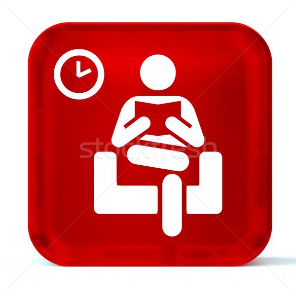 Sala de espera vidrio botón icono blanco Foto stock © OutStyle