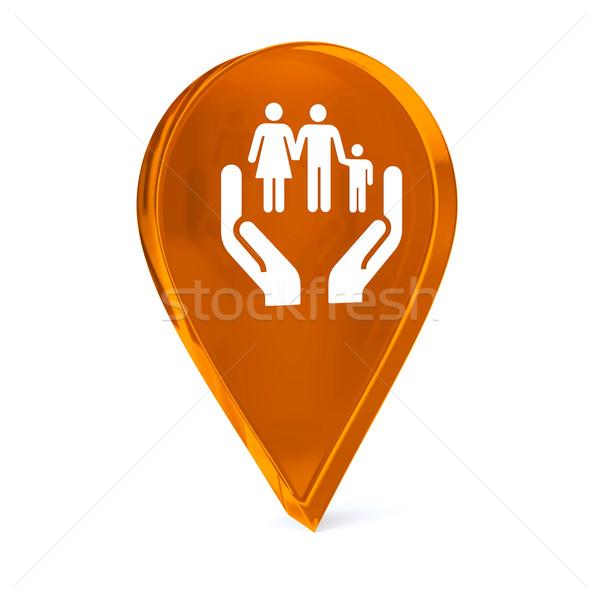Social servicios vidrio GPS marcador icono Foto stock © OutStyle