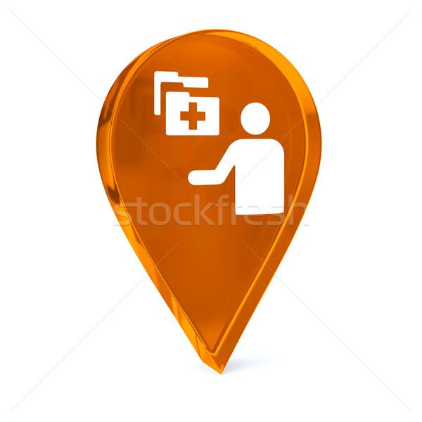 больницу администрация стекла GPS маркер икона Сток-фото © OutStyle