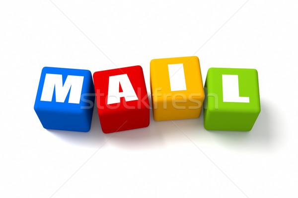 Posta színes kockák felirat hálózat háló Stock fotó © OutStyle