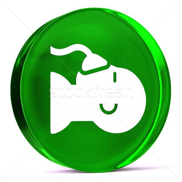 анестезия стекла икона белый знак Сток-фото © OutStyle