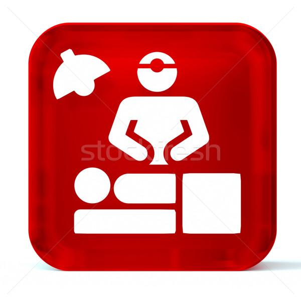 Quirúrgico vidrio botón icono blanco Foto stock © OutStyle
